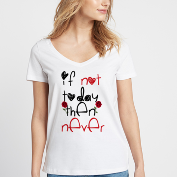 Ladies V-neck funny valentines day quote printed t-shirt