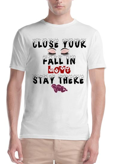 Mens crew neck T-shirt love quote printed